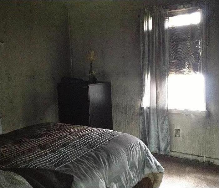 Smoke and Soot Covering bedroom, Bed and walls
