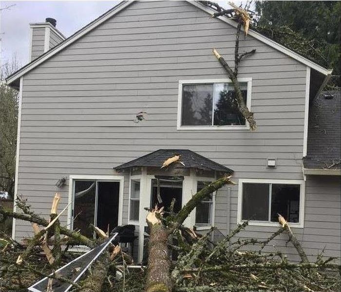 Gray two story house with storm damage trees falling on house